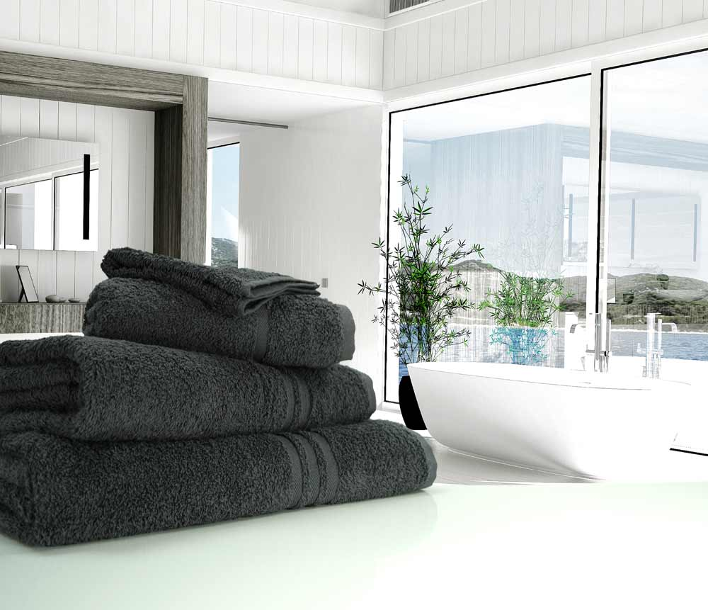 Charcoal dark grey towels