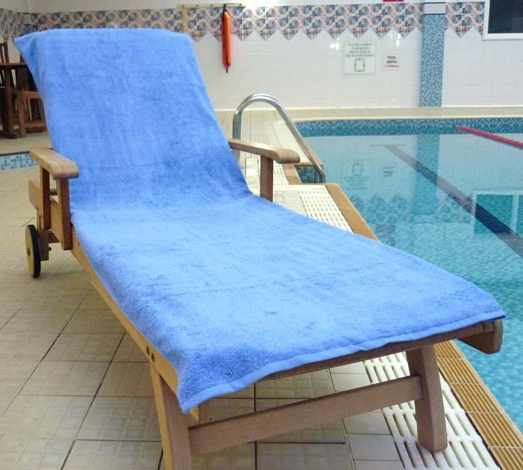 Sun Lounger Towel Med Blue