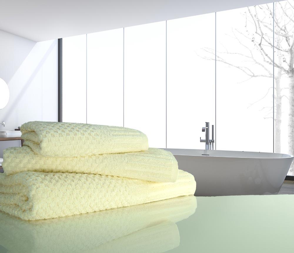 waffle ivory towels