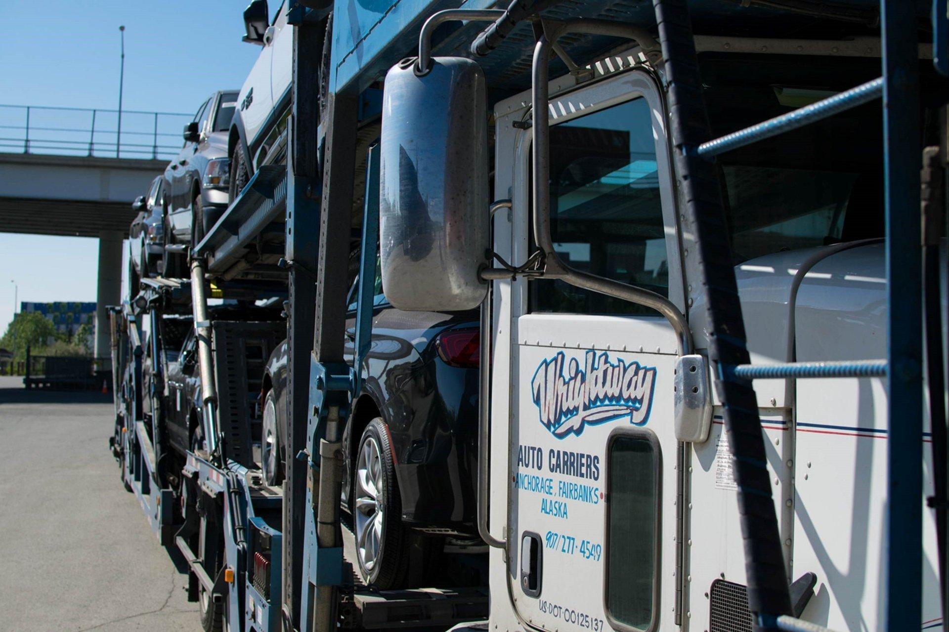 Car transporter trailer on the road