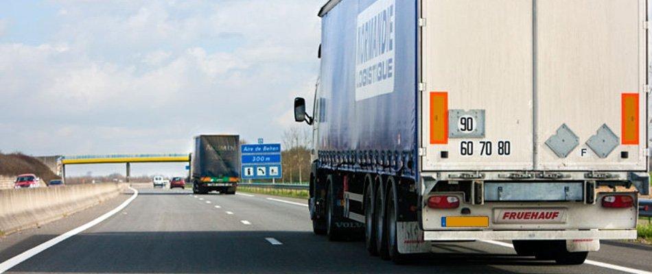 queue of lorries on motorway