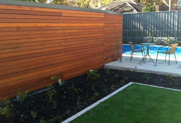 Timber sceening in backyard