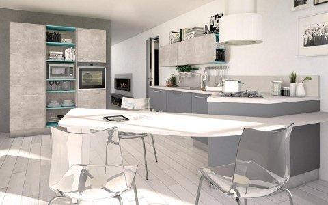 una cucina moderna e un tavolo con sedie in plexiglass