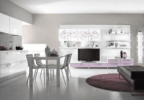 un mobile TV rosa e bianco e una cucina di color bianco 70 una cucina marrone e beige e un tavolo con delle sedie