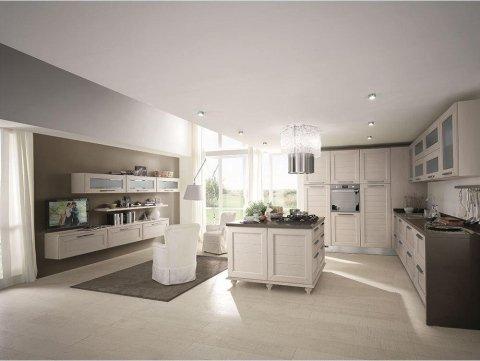 la cucina moderna con penisola open space