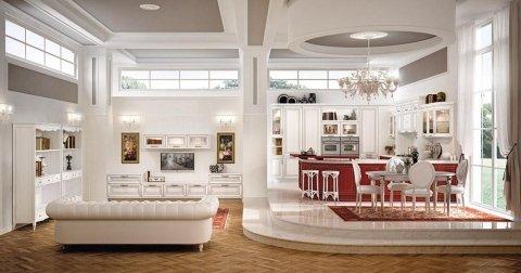 una cucina e un salotto moderni