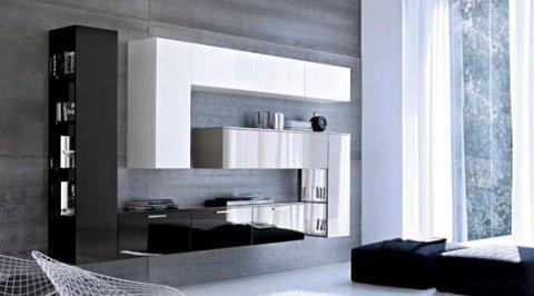 mobile da salotto di color bianco e nero