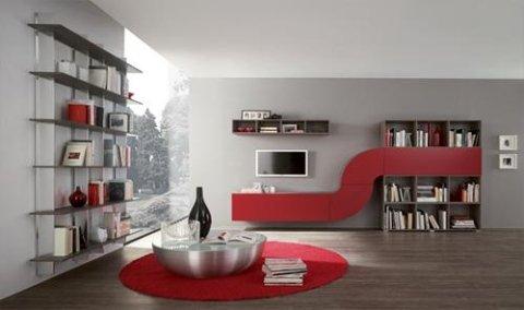 due librerie a muro e una tv