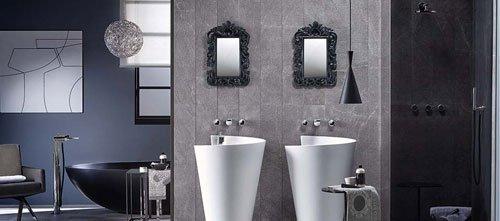 bagno di design con doppio lavandino