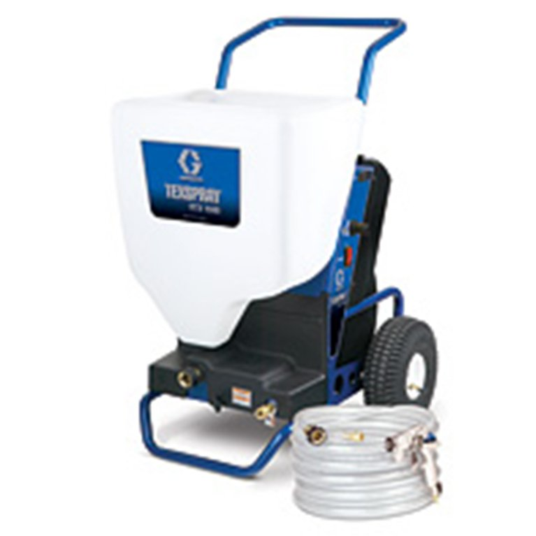img01_RTX1500 TexSpray Air Hopper Gun   (P/N 245924) Double handles give maximum support and control for ceilings, walls & floors.  Angled 5.7 Litre Hopper Capacity  Exclusive Hopper Clamp – No tools needed to attach hopper to gun  C/W 3 Nozzles (6mm, 8,mm & 12mm)
