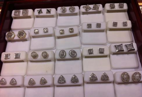 Earrings at a jewelry brokers store in Rochester, NY