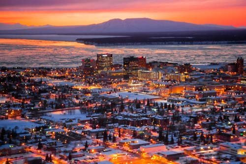 Aerial view of the Anchorage city