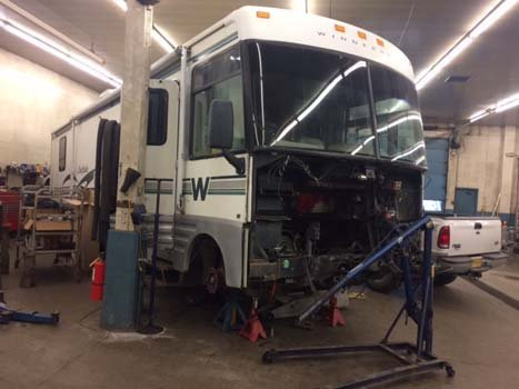 Automobile being serviced at the Dean's Automotive Service Center in Anchorage