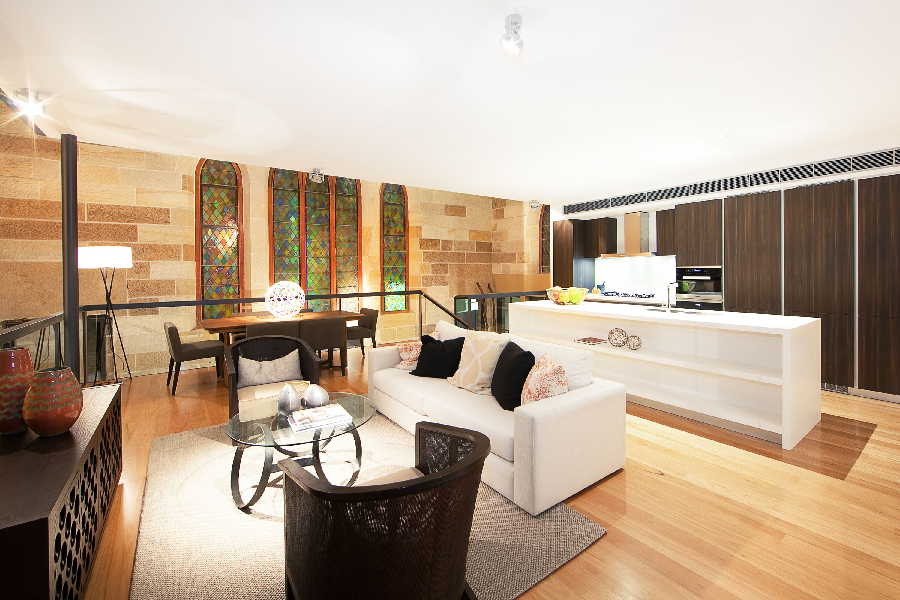 Interior of Sydney apartment with lighting and electrical fitouts