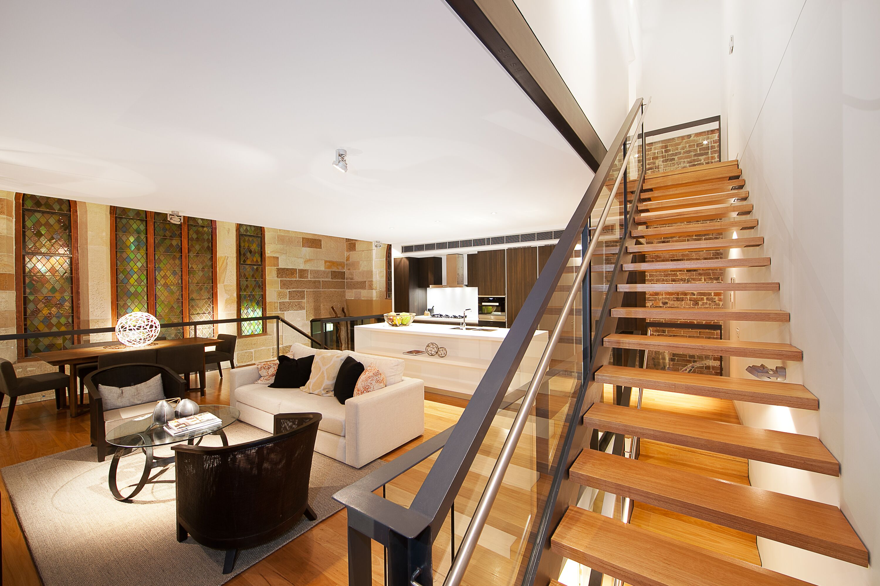 Stairwell and lounge area with lighting fitouts and electrical work