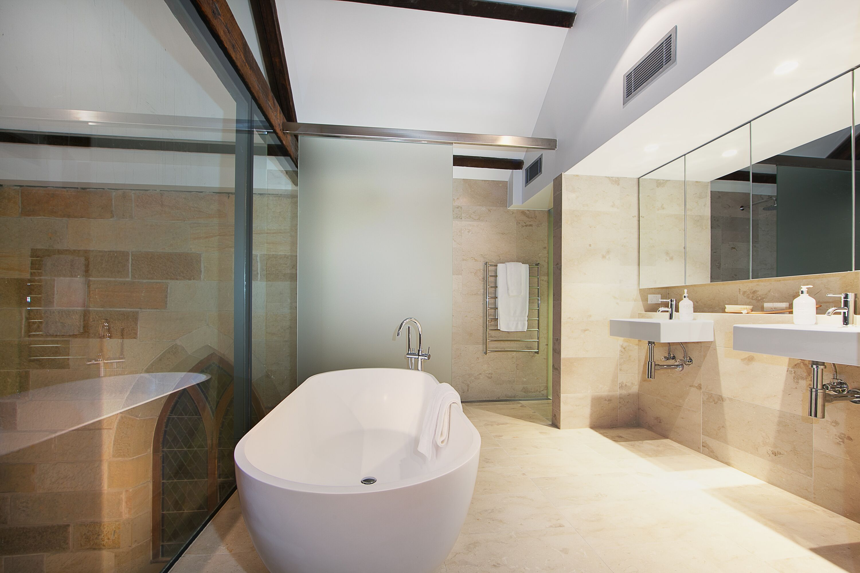 Bathroom area of new Sydney apartments with lighting and electrical work