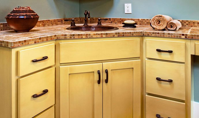 Bathroom cabinets with inset sink