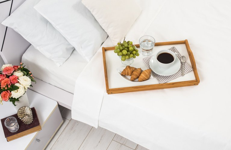 breakfast in bed in a new jac home