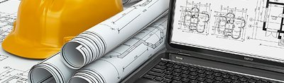 design plans and hard hat
