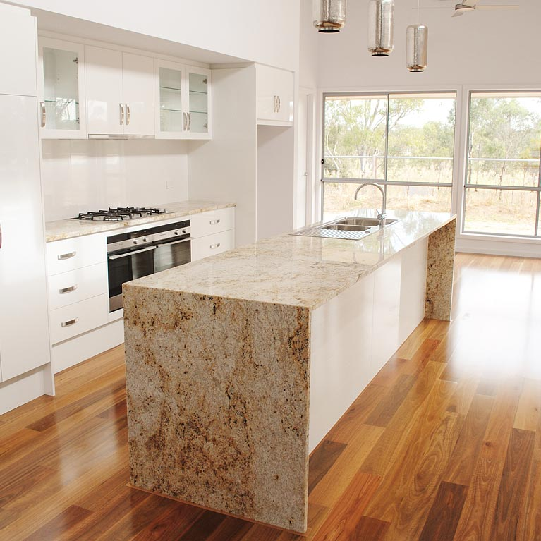 modern granite and timber kitchen