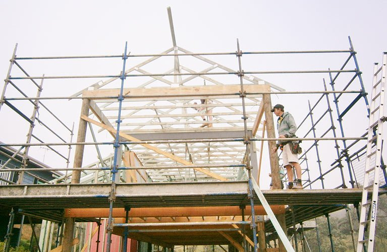 house frame and scaffolding