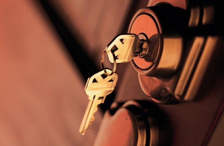 house key in door lock
