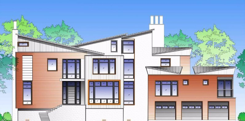 Exterior Green Home Drawing, Stamford CT