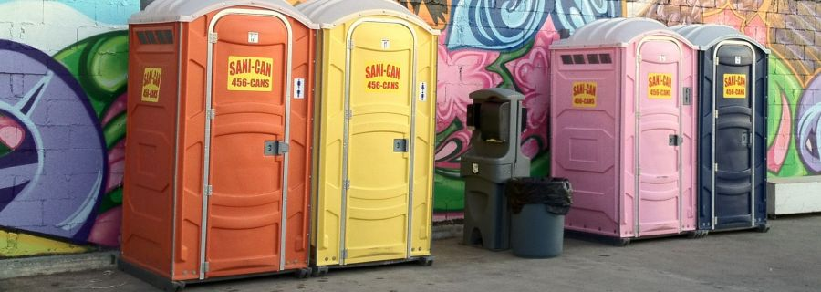 Line of portable toilets in North Pole, AK