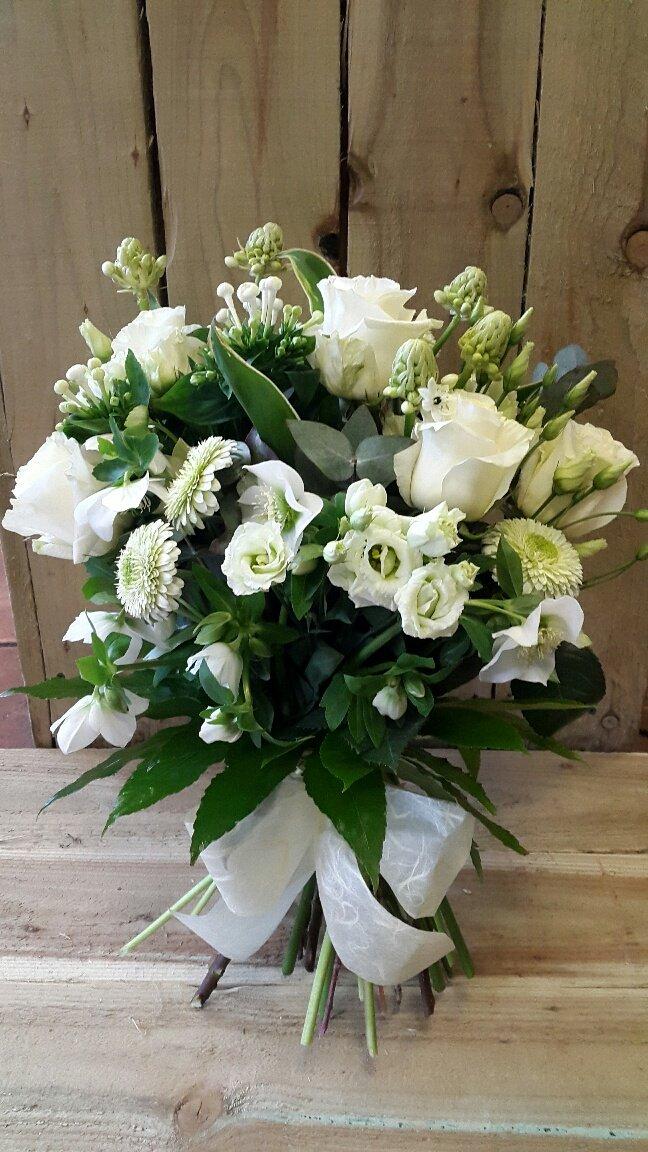 white coloured bouquet