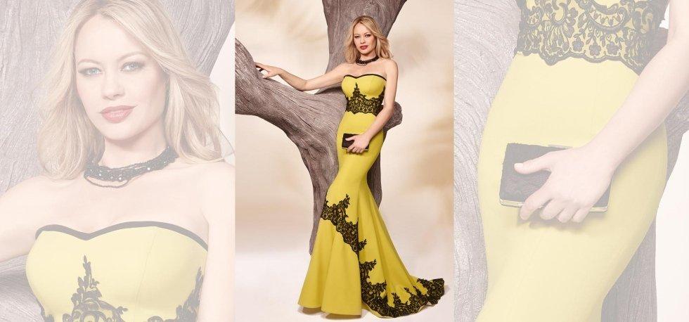 abito lungo giallo con inserti neri