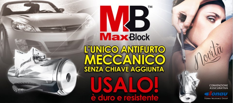 volantino pubblicitario antifurto max block