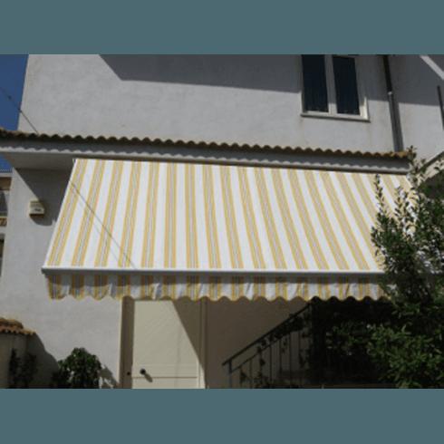 Tenda per esterni a righe gialle e bianche