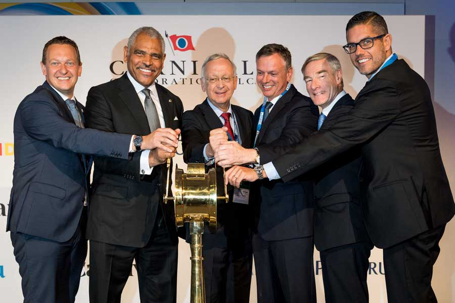 From left to right: Felix Eichhorn, president of AIDA Cruises; Arnold Donald, president and CEO of Carnival Corporation; Bernard Meyer, CEO of Meyer Yards; Michael Thamm, CEO of Costa Group and Carnival Asia; David Dingle, chairman of Carnival UK; Neil Palomba, president of Costa Cruises.