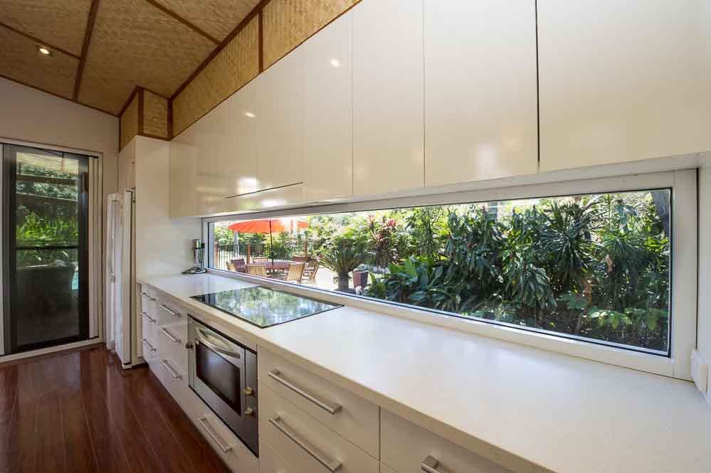 Kitchen interior with white storage space