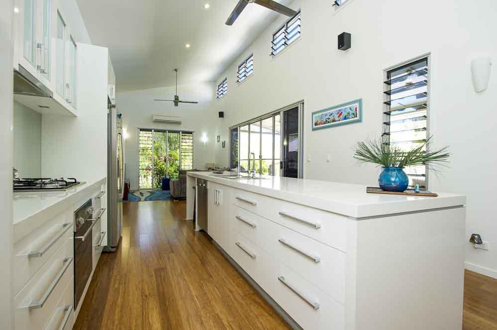 White storage space in the kitchen