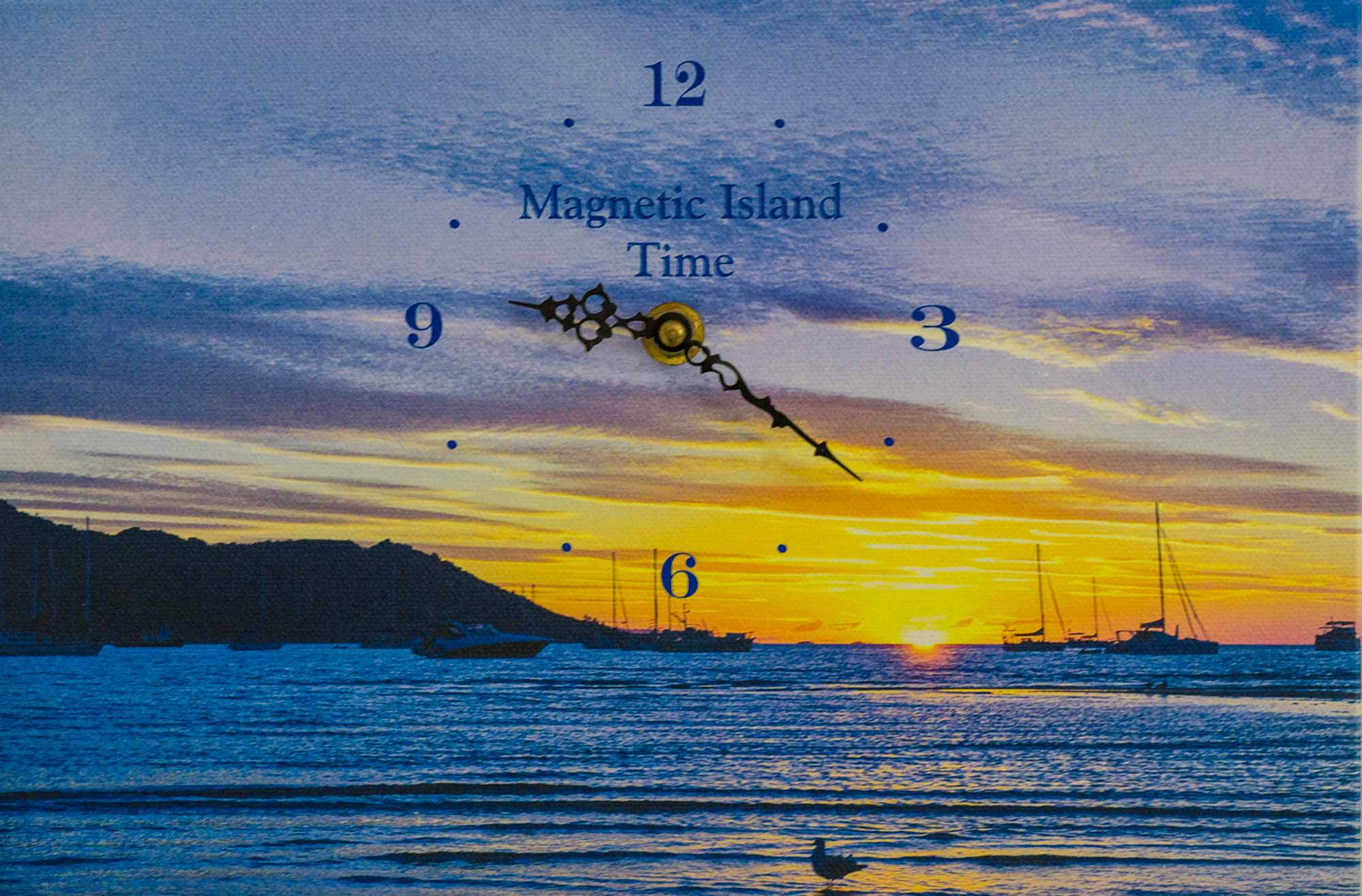 Clock with the background of the sunset