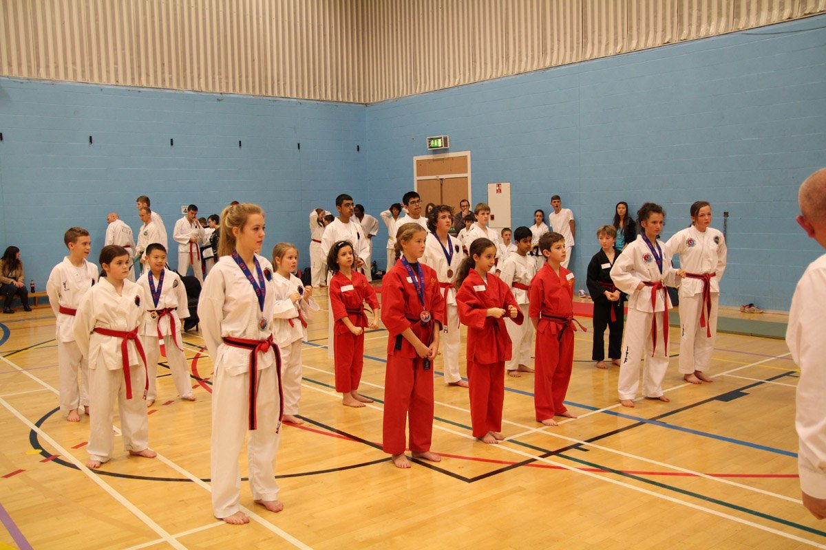 children assembled for karate lessons