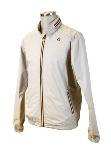 Giacca sportiva di colore marrone chiaro e con una cenefa con i colori verde,rosso e bianco