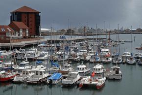 Roker Marina with lots of boats