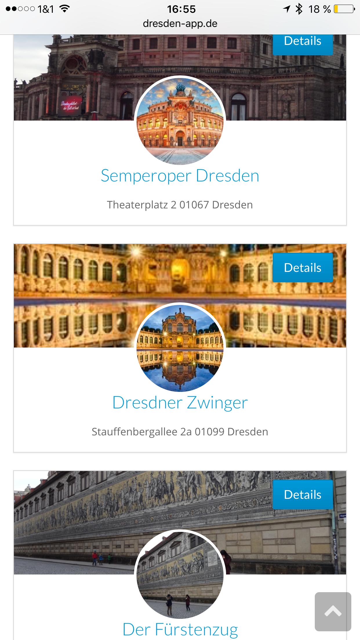 Dresden App - Liste Einträge
