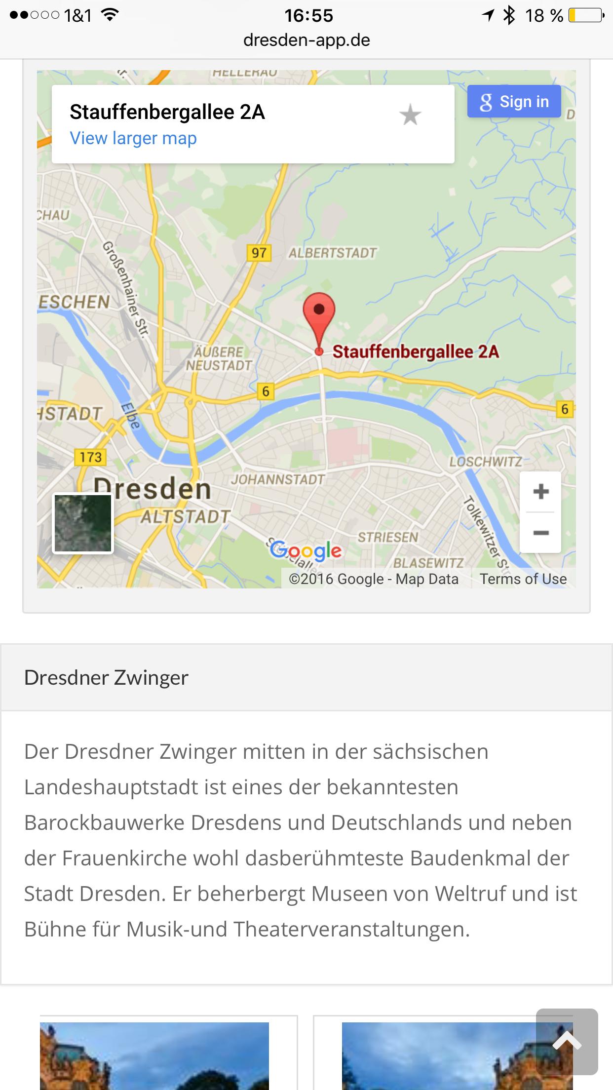 Dresden App - Sehenswürdigkeiten auf Google Maps