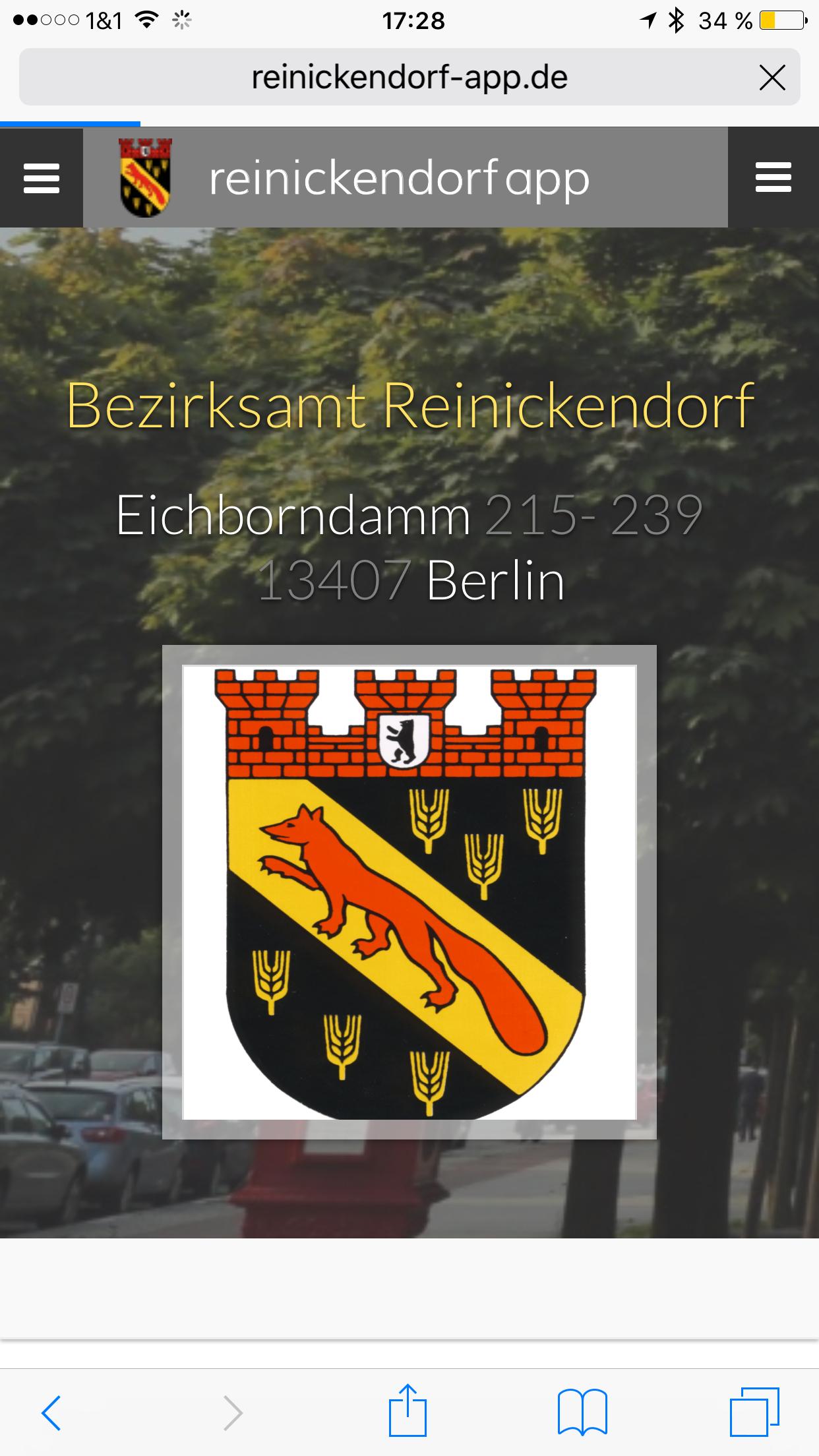Reinickendorf App - Eintrag Verwaltung Details