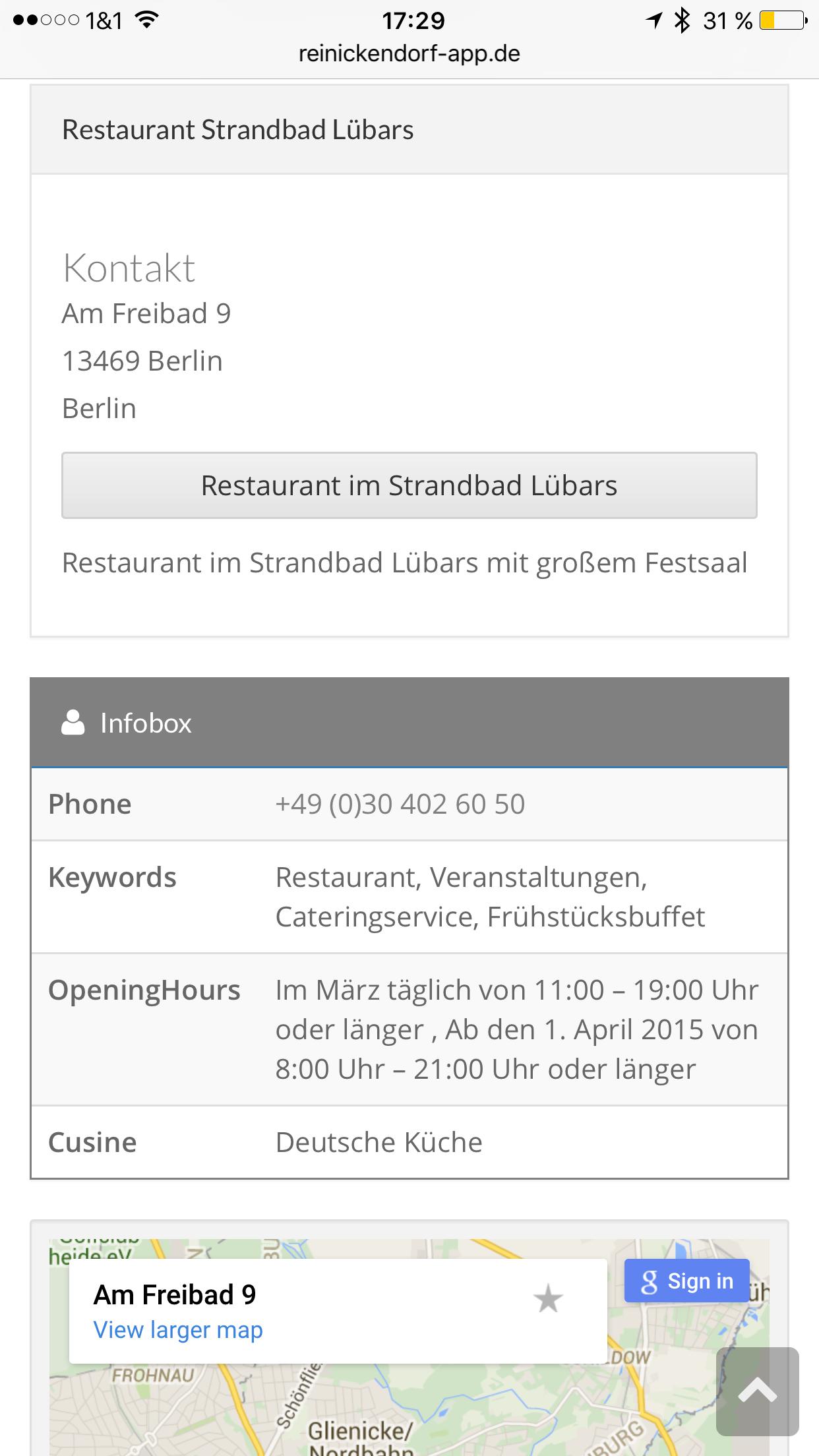 Reinickendorf App - Strandbad Lübars Infos