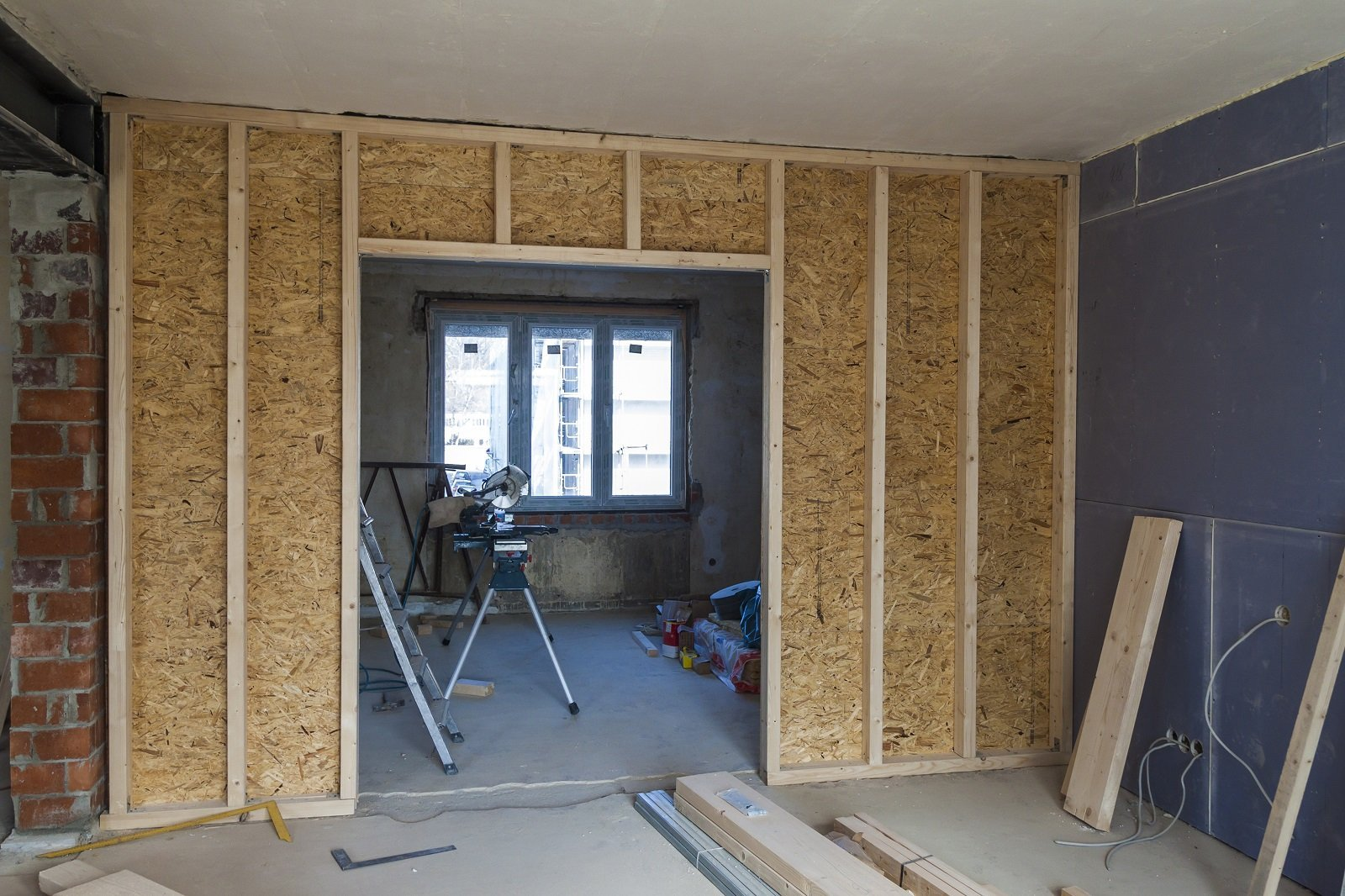 Interno di una casa in costruzione
