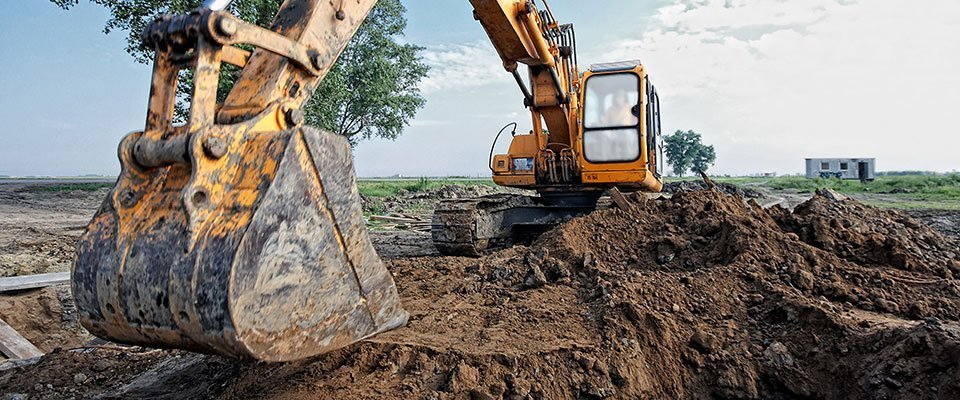 Excavator working on a site