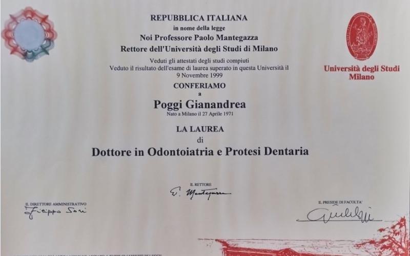 Laurea odontoiatria dr. Gianandrea Poggi
