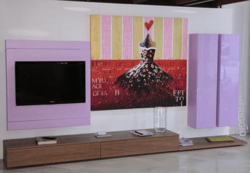 Composizione parete soggiorno coìn porta tv rack orientabile essenza noce torchio, laccato opaco - €  3.900