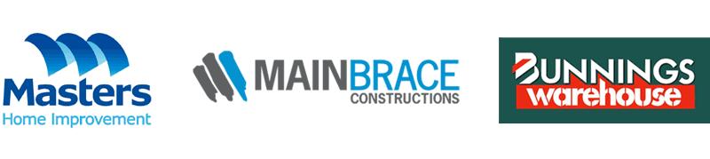 masters, mainbrace constructions, bunnings logos