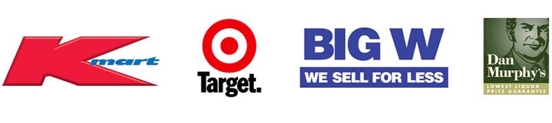 kmart, target, big w, dan murphy's logos