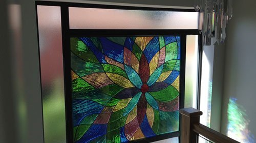 multi-coloured glass design